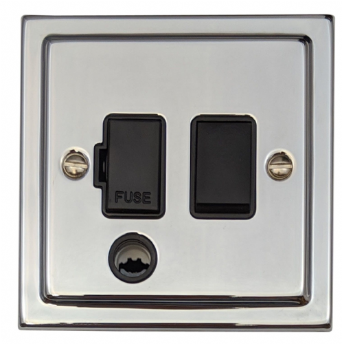 G&H TC56B Trimline Plate Polished Chrome 1 Gang Fused Spur 13A Switched & Flex Outlet